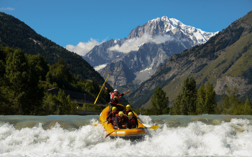 Picture perfect. Getting into a rapid with Mont Blanc as a background.