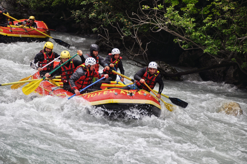 The Team, keeping calm and composed on the Champex Rafting. Photo - Eve Eichenberger
